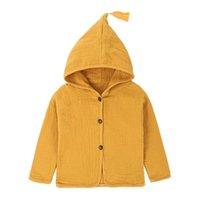 Jackets Kids Girls Outwears 2021 Baby Boys Clothing Tassel Hat Design Cotton Linen Children Cardigan 1-6Y Blouse Toddler