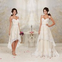 2020 New Detachable Skirt A Line Vintage Bridal Gowns Spaghetti Straps Crystal Beaded Sash High Low Short Lace Wedding Dresses 033