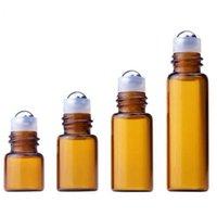 Ambalaj Şişeleri 1 ml 2 ml 3 ml 5 ml Amber Rulo Mini Rulo Uçucu Yağlar Için Cam Şişe Doldurulabilir Parfüm Satışı SN5012 3SNS