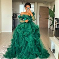 Fluffy Tulle Maternity Evening Dress Off the Shoulder Ruffled Photoshoot Women Long Sleeve Robes Photography Dresses Robe