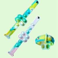 Bracelets Fidget Push Bubble Toy Camouflage Favor 4 Colors Stress Reliever Sensory Silicone Bracelet Toys Kids LD61506