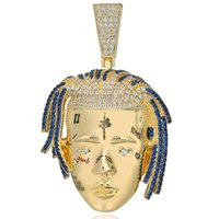 Collar colgante de rapero personalizado Hombres con hielo, cadenas de hip hop / punk plateado y oro, color de color, regalos de joyería 632 Q2