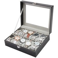 Watch Boxes & Cases 10 12 Grids PU Leather Box Gray Inner Case Holder Organizer Storage For Men Watches Women Jewelry Display