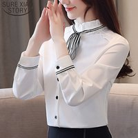 Женщины топы весенние сращенные сплетенные твердые слойные рукава стоящие воротник белый и черный шифон длинная блузка 5112 50 210512
