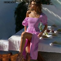 Casual Dresses Summer Women Puff Sleeve Midi Dress Sexy Backless Slit Solid Beach Party Patchwork Red Sundress Fashion 2021
