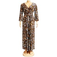 Ladies Dresses African Sexy Leopard V-neck Long Flared Sleeves Elegant High Quality Polyester Maxi Robe With Waist Bazin Party Ethnic Clothi