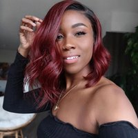 Bob Burgundy Ombre Body Wave 100% Human Hair 360Lace Frontal Wigs full lacewigs for Black Women 180 Density 13x6 Deep Parting Lace Front Wig