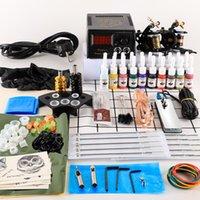 Tattoo Guns Kits Kit 2 Machines Gun 20pc Ink Power Supply Grips Body Art Tools Complete Set Accessories Supplies