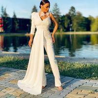 Mangas largas de cuello en V modificados para requisitos particulares Vestidos de noche Apliques Satén Vestidos formales de baile con pantalones Vestidos de Novia