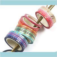 Bolsas escolares Bolsas, Aesorías de lage * 5M 24Rolls / Pack Enmascarador de oro flaco delgado con múltiples diseños coloridos Etiqueta engomada de la cinta washi para DIY PO Al