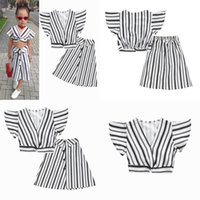 Ins Baby Girls Clothing Sets Children Striped V-neck Flying Sleeve Top+skirts  set Summer Fashion Boutique Kids Outfits