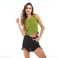 Echte schot spot kleding DH-poort zomer vrouwen nieuwe stijl korte v-hals slanke curve holle camisole dames tanks