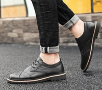 Spring and summer leather flat shoes junior high school men's casual dress shoes calfskin leather outdoor hiking party wedding shoes gifts