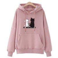 Women's Hoodies & Sweatshirts Hiawatha Hooded Sweatshirt Women 2021 Autumn Korean Loose Fashion Cat Print Tops WY1002