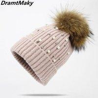 Pearl Wool Beanies Women Real Natural Fur Pom Poms Fashion Knitted Hat Girls Female Beanie Cap Pompom Winter For Beanie Skull Caps