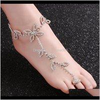 Anklets jóias entrega entrega 2021 moda mulheres folhas cadeia de cristal praia descalço sandálias pé de pé de pés de pés pulseira de tornozelo casamento ps2892 zspkd