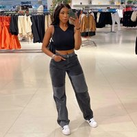 Women's Pants & Capris Contrast Stitching Street Style High-waist Straight-leg Casual Jeans Trousers, Pants,women-clothing,traf