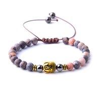Moda Buda Pulsera Piedra natural Rhodocrosite Beads Pulseras para mujeres Hematite Hombres Joyería Bilíklik con cuentas, hebras