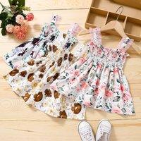 kids clothes girls Lace sling Flower print dress children Floral princess Dresses fashion summer Boutique baby Clothing M3690