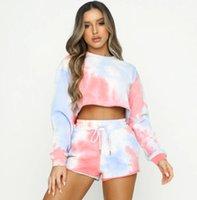 Women's Tracksuits Imcute Fashion Tie Dye 2Pieces Sport Suit Women Sets Long Sleeve Sweatshirt Crop Tops+Elastic Waist Shorts Female Outfits