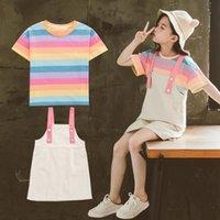 Abbigliamento Set Baby Girls 2021 Outfit Summer Bambini Tracksuit per ragazza a strisce T Shirt + cinturino Dres Vestito per bambini