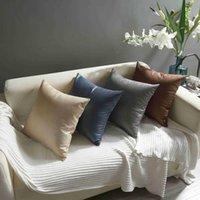 Cushion Decorative Pillow LuanQI Case 45x45 Cm Solid Color Imitation Leather Sofa Waist Throw Cushion Cover Home Decor Faux