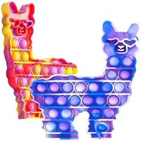 Vicuna Push Pop it Bubble animal llama Tie-dye Sensory Fidget Toy Autism Stress RelieverToys Adult Kid gift 2021 Latest DHL SHIP