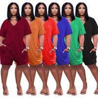 Plus Size Women Jumpsuits 3XL 4XL 5XL Short Sleeve Rompers Letter Print Shorts One Piece Pants Party Outfits Loose Jumper Suit Summer Clothing Casual Sports 5638