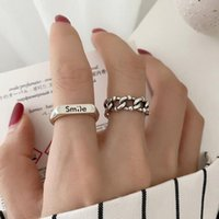 Wedding Rings Arrival Silver Color Chain For Women Simple Retro Opening Smile Index Finger Combination Wholesale