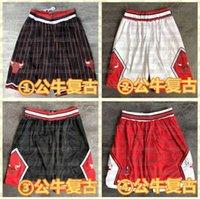 Mens 2021 Team Basketball Shorts Retro Stripe ChicagoTourosShorts de bolso costurados los angelesLakers.FoguetesMoletom