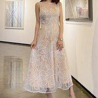 ZAWFL Summer French Designer Floreal Embroidery Mesh Viovet Long Dress Elegant Lace High waist Sleeveless dress Robe femme 210525