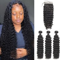 28 30 inch Deep Wave Bundles Closure Human 3 4 Curly Hair Extension Brazilian Water Wet and Wavy Weave with Hd Lace