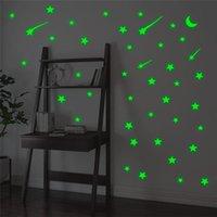 Wall Stickers Creative Meteor Stars Moon Luminous On Bedroom Baby Room Home Decor Green Glow In The Dark Fluorescent Decals