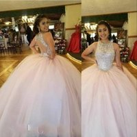 2021 Exquiste Vintage Light Pink Quinceanera Dresses Silver Crystal Beads Jewel Neck Illusion Hollow Back Plus Size Formal Party Prom Evening Gowns Floor Length