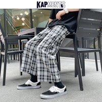 Pantalones para hombres Kapments Men Plaid Wide Pierna Swears Swears 2021 Mens Harajuku Vintage Japonés Streetwear Joggers Male KPOP Designer