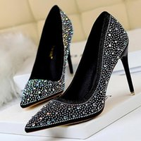 Dress Shoes Crystal Shallow Pums Donne Party Wedding Formal High Stiletto Sexy Heel Strass Sexy Bling 10 cm femme c5
