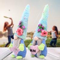 2021 Giornata della mamma fatta a mano bambola senza volto in poppato del fumetto dei cartoni animati del cartone animato Blue Hat Rudolph Love You Mum Peluche Bambole Gnome Gnome Regali del partito Decor G32Mo9F