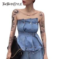 TWOTWINSTYLE Sexy Irregular Women Tank Top Strapless Sleeveless High Waist With Sashes Vest For Female Fashion Clothes Tide 210326