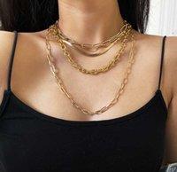 Kubanische Punk Chokers Halsketten für Frauen Mann Pailletten Einfache Flache Klinge Schlange Kragen Halskette Gold Silber Überzogene Modeschmuck Ketten
