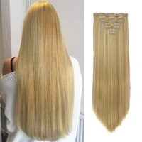 """Synthetic Wigs Long Straight Clip In Hair 22"""" Women Fake False Pieces Ombre Black Brown Blonde Styling 7Pcs"""