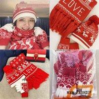 Classic Christmas Pattern Hat Red Knit Tassel Scarf Gloves 3PCS Set Snowflake Tree Reindeer Xmas Pom Slouchy Warm Beanie Caps Big Kids Child Teenagers Gift G111JJUL