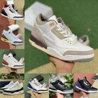 Top Qualité Racer Bleu 3 3S Basketball Chaussures Mens Cool Grey A MA Manière Fragment Unc Jordán Court Violet Denim Rouge Noir Ciment Séoul Pure Trainer Blanc Sneakers