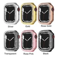 Luxury Two Rows Diamond Women PC Protect Cover for Apple Watch Case Series 7 Bling Bumper 41MM 45MM Shell