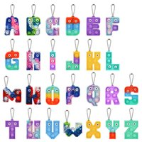 2022 Chirstmas Alphabet Letters Push Key-chain Toys Party Favor Cell Phone Straps Silicone Letter Sensory Bubbles keyring Simple Dimple Fidget Finger Toy Gifts