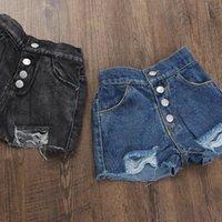 Meninas meninas curtas jeans 2021 verão botão de moda botão design crianças menina crianças roupas de bolso leggings para 3 pants