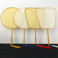 White Blank Natural Chinese Silk Hand Fans DIY Claborate-style Painting Calligraphy Embroidery Traditional Craft Bamboo Handle
