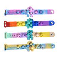 Prevalent Push Bubble Fidget Bracelets Toys Sensory Ring Macaron Tie Dye Decompression Cartoon Amongus Pop Puzzle Press Finger Stress Bracelet Wristband