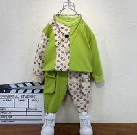 Tasarımcı Erkek Ekleme Çiçek Mektup Baskılı Giyim Setleri Çocuklar Uzun Kollu Kazak + Çift Cep Rahat Pantolon 2 adet Çocuk Spor Kıyafetleri Q1640