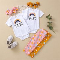 kids Clothing Sets girls outfits infant toddler rainbow letter Tops+print pants+Bow Headband 3pcs set summer fashion baby Clothes Z3780
