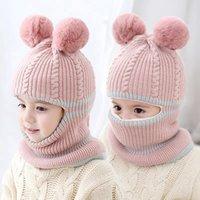 Kinder Halstuch Mütze Mütze Multifunktionale Kind Gestriebene Hüte Pom Pom Ball Nette Warme Winter Verdicken Hut Jungen Mädchen Baby von Sea LLA1026